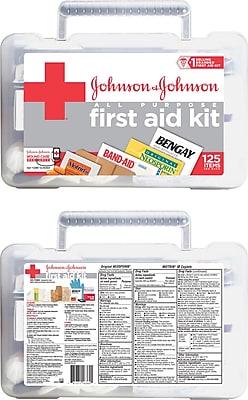 All-Purpose First Aid Kit Johnson & Johnson RED CROSS Brand, 125 Items/Kit (Model:116360)