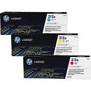 HP 312A Cyan/Magenta/Yellow Standard Yield Toner Cartridge, 3/Pack (CF440AM)