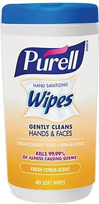 Purell Hand Sanitizing Wipes Fresh Citrus Scent 40 Count Canister
