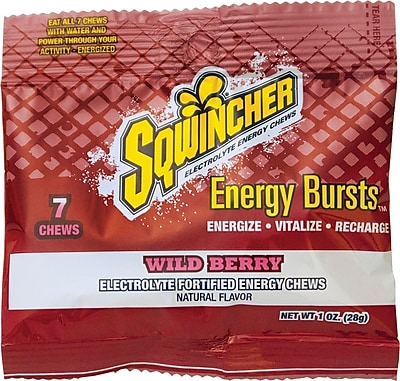 Sqwincher Electrolyte Chews, Wild Berry, 12 Pack