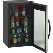"Avanti® 3.1 Cubic Foot Glass Door Beverage Center, Black/Stainless Steel, 33 3/4""H x 18 3/4""W x 19 1/2""D"