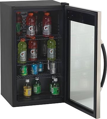 Avanti® 3.1 Cubic Foot Glass Door Beverage Center, Black/Stainless Steel, 33 3/4