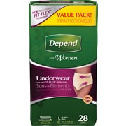 Depend Women Underwear, Large, 28/Pack