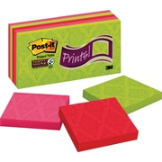 "Post-it® Super Sticky Notes, 3"" x 3"", Assorted Colors, Printed, 10 Pads/Pack (654-10SSFP)"