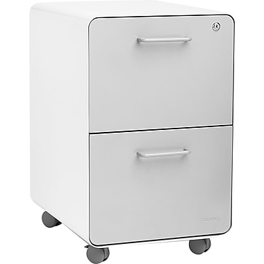 Poppin, Stow File Cabinet, Rolling 2-Drawer, White + Light Gray (102257)