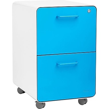 Poppin, Stow File Cabinet, Rolling 2-Drawer, White + Pool Blue (101822)
