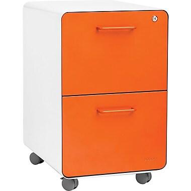Poppin, Stow File Cabinet, Rolling 2-Drawer, White + Orange (101821)