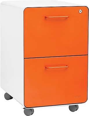 Stow 2-Drawer File Cabinet w/Casters, White + Orange