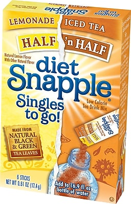 Snapple Iced Tea Singles To-Go, Diet Half 'n Half, 0.61 oz Stick, 72 sticks