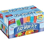 Fla-Vor-Ice Freezer Bars, Assorted Flavors, 1.5-oz., 100/Carton