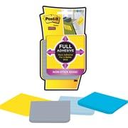 Post-it® - Feuillets adhésifs de bord à bord, couleurs variées, réglés, 3 po x 3 po, paq./4