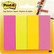 "Post-it® Page Marker, Assorted Colours, 1"" x 3"", 50-Sheet/Pad, 4/Pack"