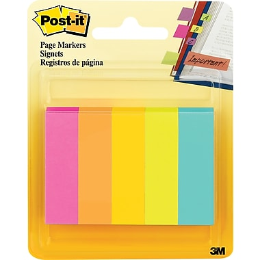 Post-it® Page Markers, Assorted Fluorescent, 1/2