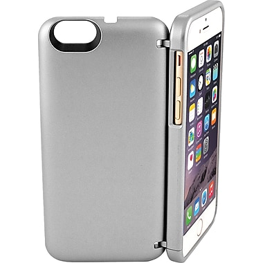 EYN Smartphone Case for iPhone 6 with Hidden Storage, Mirror & Kickstand, Silver