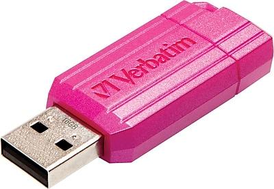Verbatim® USB 2.0 Flash Drive, 16GB, Pink Pinstripe