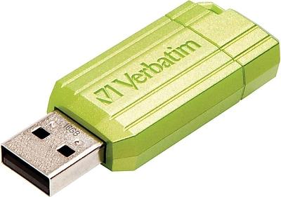Verbatim® USB 2.0 Flash Drive, 16GB, Green Pinstripe