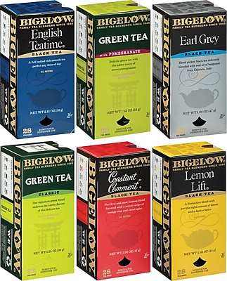 Bigelow® Assorted Flavor Teas, Regular, 28 Count (Pack of 6), 168 Tea Bags/Box (RCB15577)