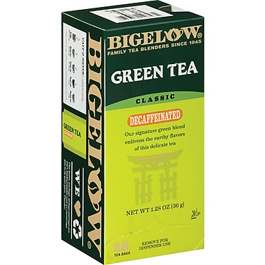 Bigelow® Grean Tea, Decaffeinated, 28 Tea Bags/Box