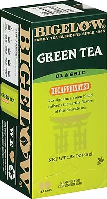Bigelow® Grean Tea, Decaffeinated, 28 Tea Bags/Box