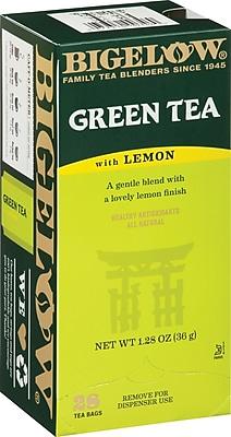 Bigelow® Green Tea with Lemon, Regular, 28 Tea Bags/Box