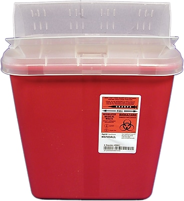 Kendall/Covidien Sharps Containers; 2-Gallon Container with Clear Lid