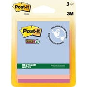 "Post-it® Super Sticky Recycled Notes, Bali Collection, 3"" x 3"", 3 pads/pack"