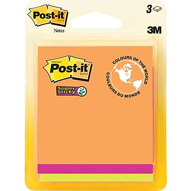 Post-it® - Feuillets adhésifs Super Sticky, collection Rio de Janeiro, 3 po x 3 po, paq./3 blocs