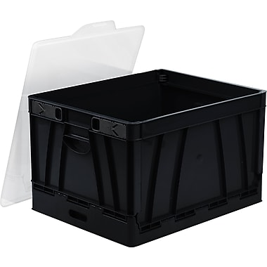 Storex Letter/Legal Collapsible Crate, Black