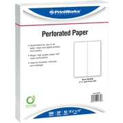 "Printworks® Professional 8 1/2"" x 11"" 20 lbs. Vertical Perforated at 4 1/2"" Paper, White, 2500/Case"
