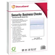 "Paris DocuGard® 8 1/2"" x 11"" 24 lbs. Standard Security Business Middle Check Paper, Blue, 2500/Case"