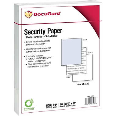 DocuGard® 24 lbs. Standard 2 Features Multi-Purpose Security Paper, 8 1/2