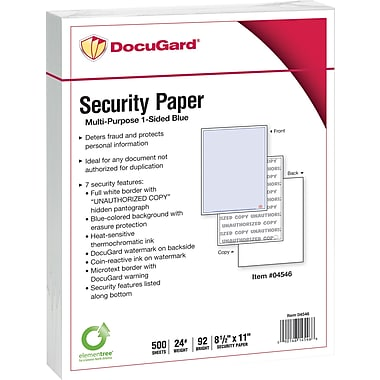 DocuGard® 24 lbs. Advanced 7 Features Multi-Purpose Security Paper, 8 1/2