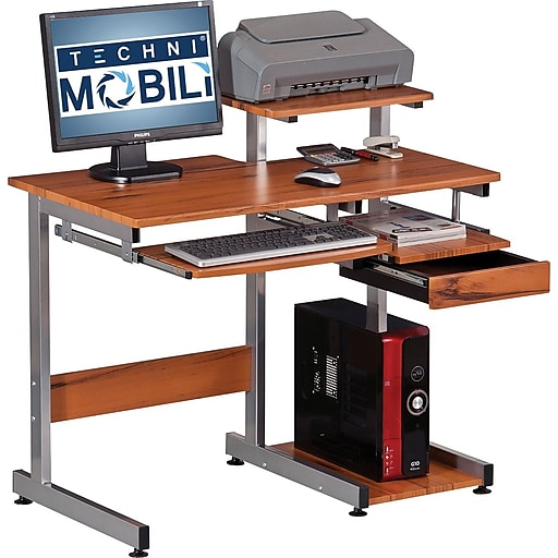 Techni Mobili Compact Workstation Computer Desk Woodgrain Rollover Image To Zoom In S Staples 3p Com S7 Is