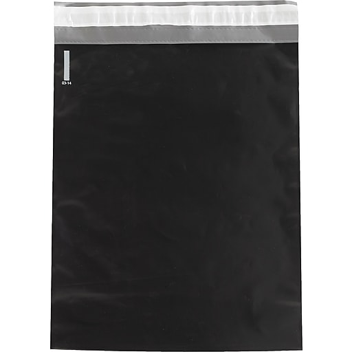 """Colored Poly Mailers, Black, 12"""" x 15-1/2"""", 100/Case"""