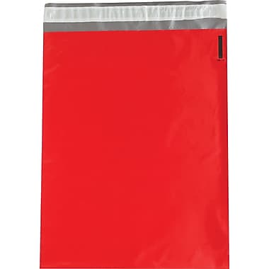 Partners Brand Colored Poly Mailers, Red, 14-1/2 x 19