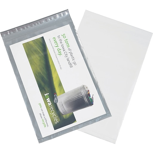 "Clear View Poly Mailers, Clear/White, 14-1/2"" x 19"", 100/Case"