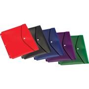 Cardinal® – Enveloppes à bouton pressoir, deux poches, format lettre, avec trous, couleurs variées, paq./5