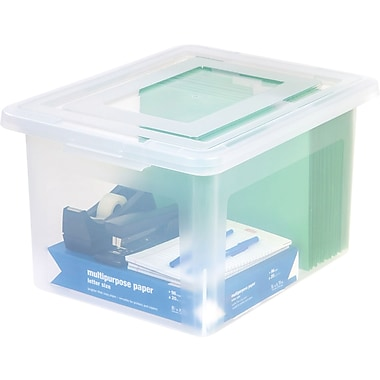 Staples® Letter/Legal File Box, Clear (140050)