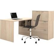 Bestar i3 L-Shaped Desk, Northern Maple