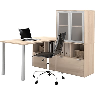 i3 by Bestar L-Shaped Desk Northern Maple