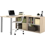 i3 by Bestar L- Shaped desk in Northern Maple and Sandstone
