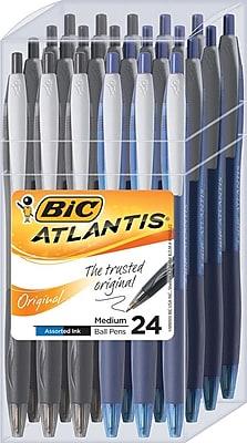 BIC Atlantis Retractable Ballpoint Pens, Medium Point (1.0mm), Black/Blue, 24/Pk (VCG12UAD)