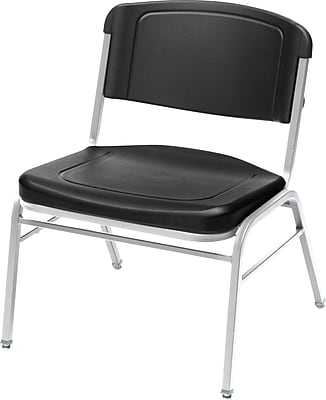 4 Pack Big and Tall Stack Chair, Black w/Silver Frame