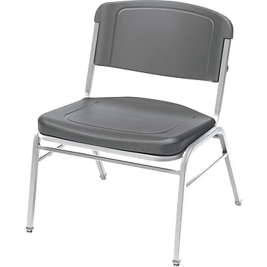 4 Pack Big and Tall Stack Chair, Charcoal w/Silver Frame