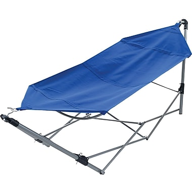 Stalwart Portable Canvas Hammock With Frame Stand and Carrying Bag, Blue