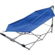 Stalwart Portable Canvas Hammock With Frame Stand and Carrying Bag, Blue by