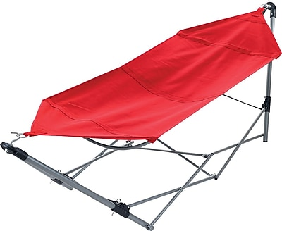 Stalwart Portable Canvas Hammock With Frame Stand and Carrying Bag, Red