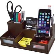 Victor Technology Wood Desk Organizer with Smart Phone Holder, Mocha Brown (B9525)