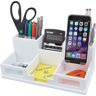 victor wood desk organizer with phone holder pure white
