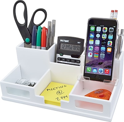 Victor® Wood Desk Organizer with Smart Phone Holder, Pure White, 5.5